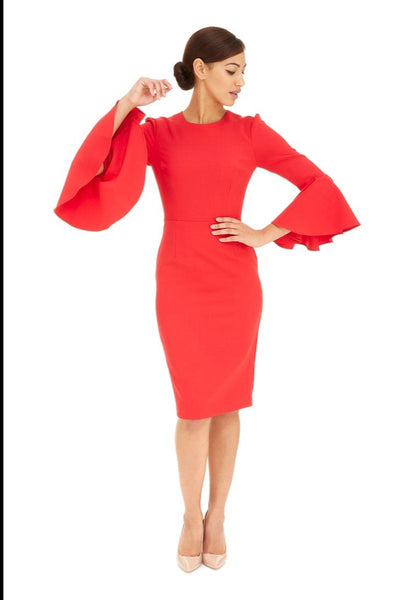 Geo Red Bell Sleeve Dress
