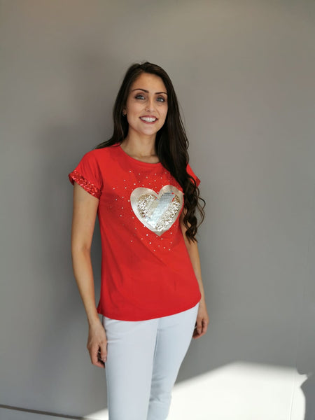 Statement Red Hearts Top