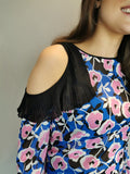 Blue pink Black silk top