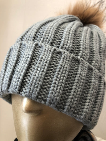 Light Grey Pom Hat