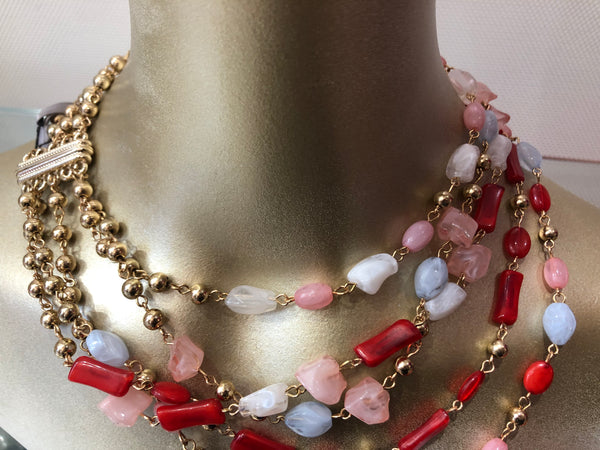 Red pink ice Necklace