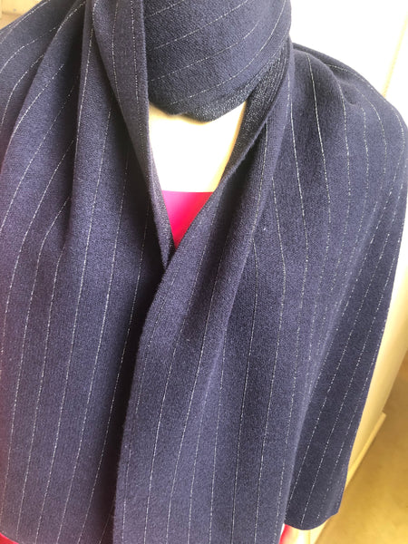 Navy Stripe Knit Scarf