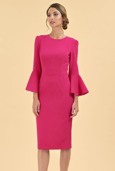 Geo Fushia Bell Sleeve Dress