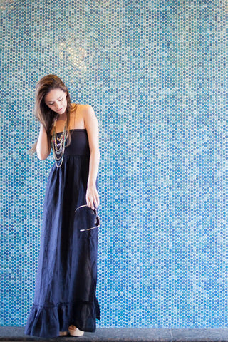 Christine Maxi Dress (Navy) - april-marin
