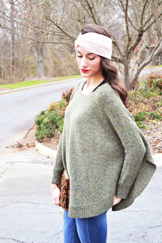Lincoln Sweater Poncho (Green)