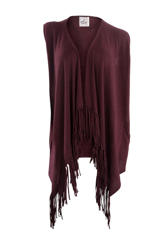 Nantucket Fringe Vest (Plum)