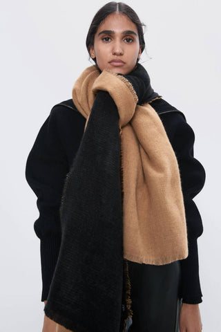 Two Tone Camel/Black scarf shawl