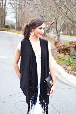 Nantucket Fringe Vest (Black)