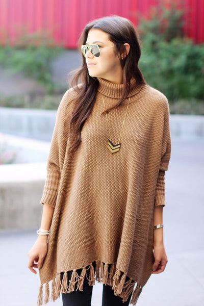 Vail Sweater Poncho (Camel)