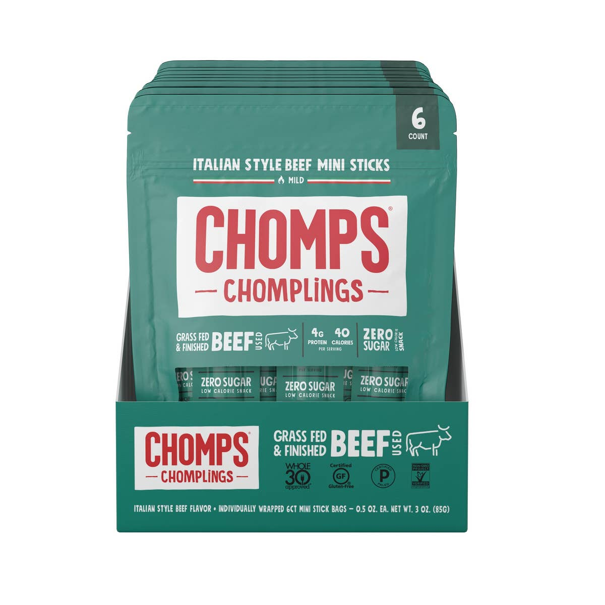 Chomps Grass Fed Italian Style Beef 6ct Chomplings - Pack of 10