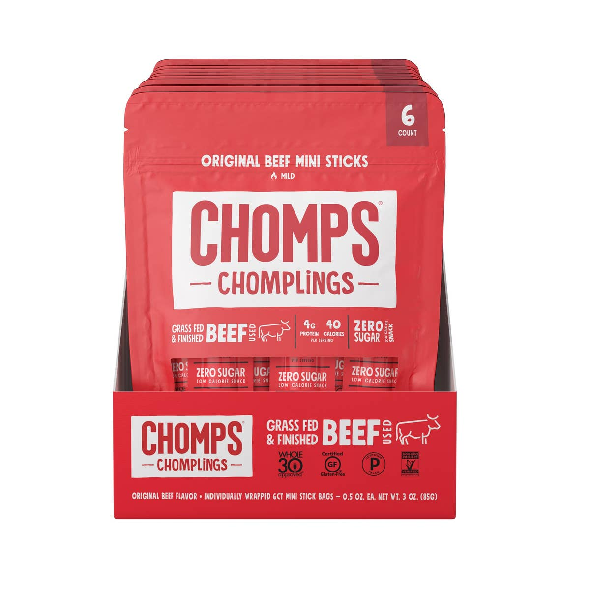Chomps Grass Fed Original Beef 6ct Chomplings - Pack of 10