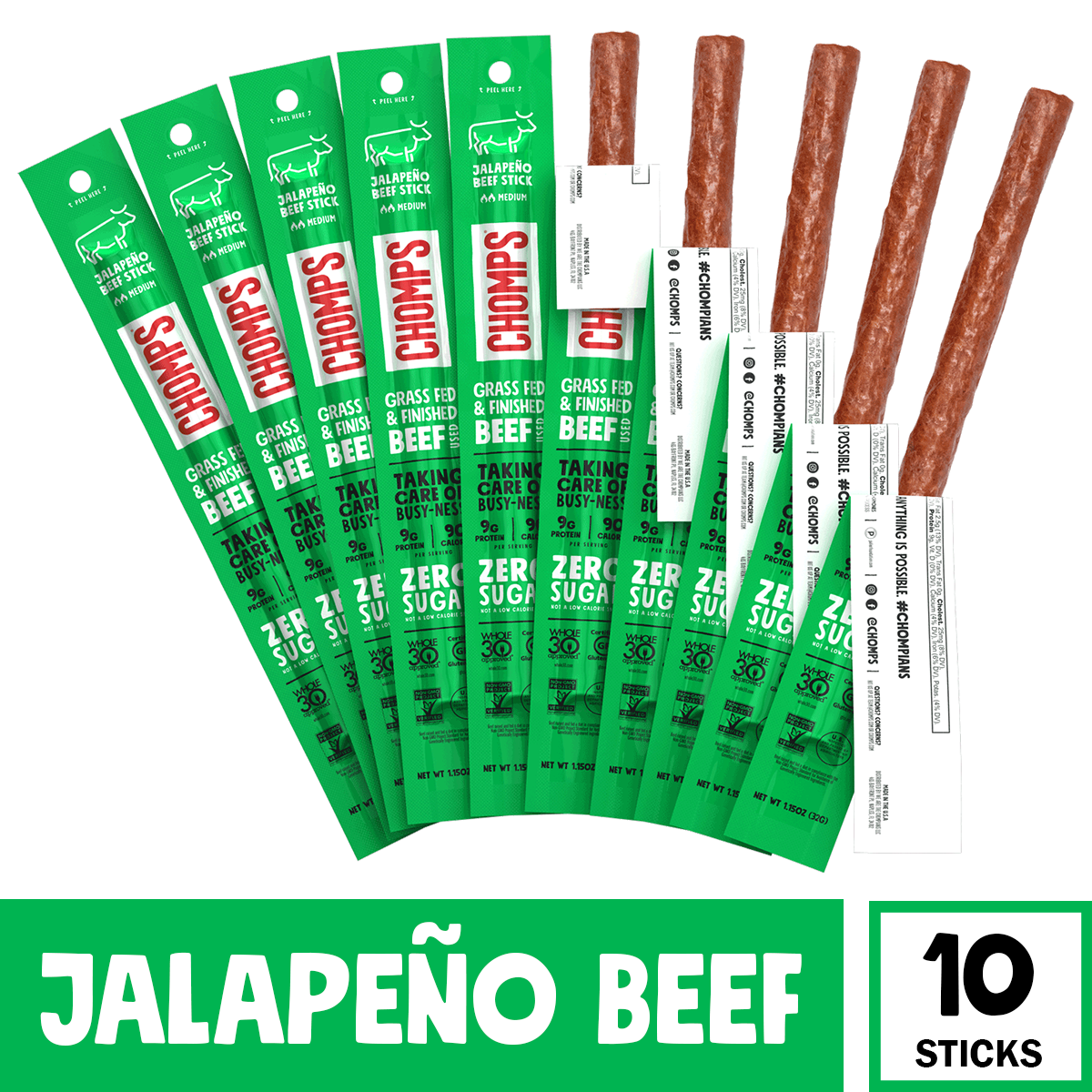 Chomps Grass Fed Jalapeno Beef, 10 Pack