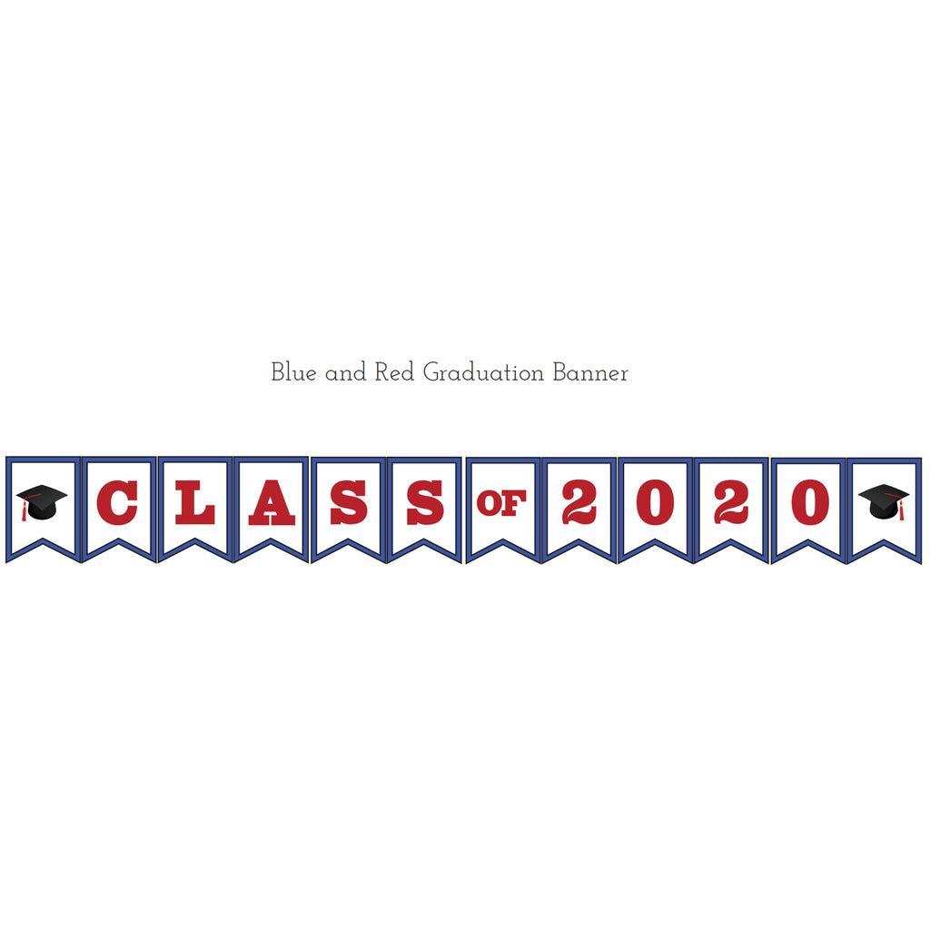 Blue & Red Graduation Printable Banner (Digital Download)