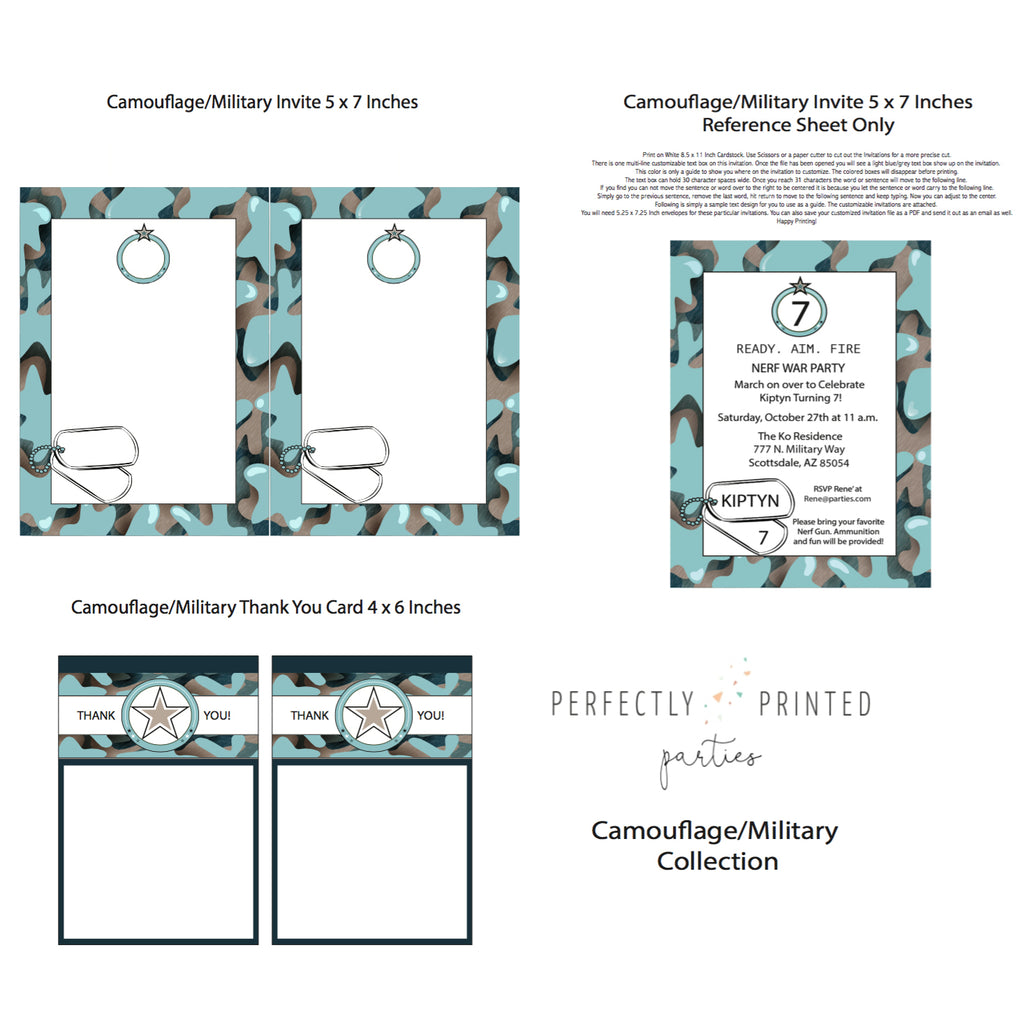 Blue Camouflage Printable Invitation (Digital Download)