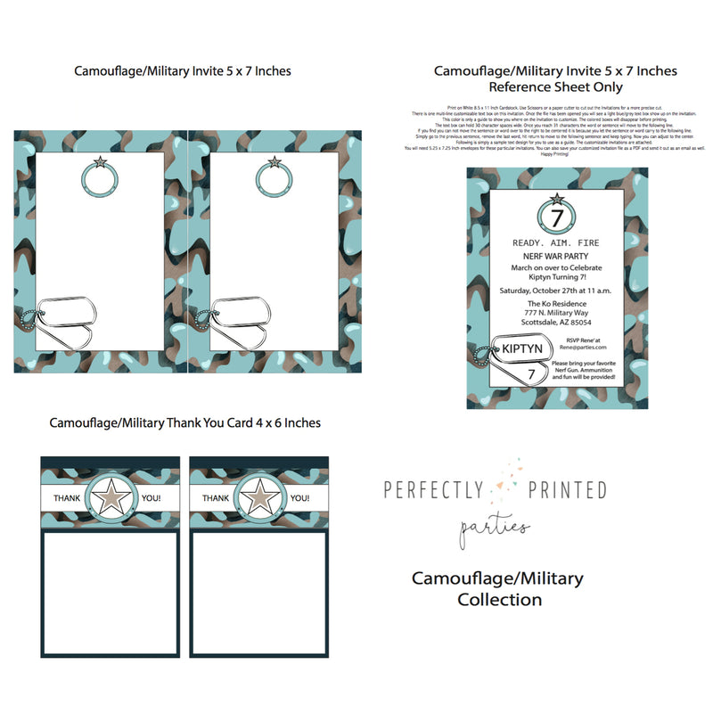 Blue Camouflage Printable Collection (Digital Download)