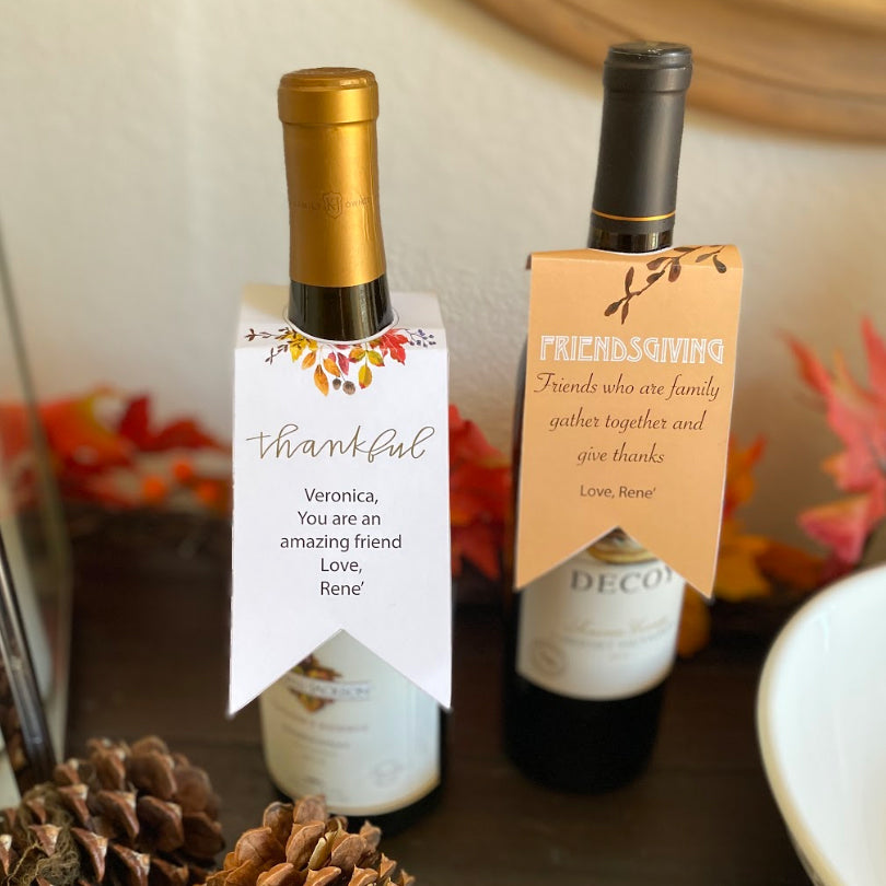 Friendsgiving Printable Wine Bottle Tags (Digital Download)