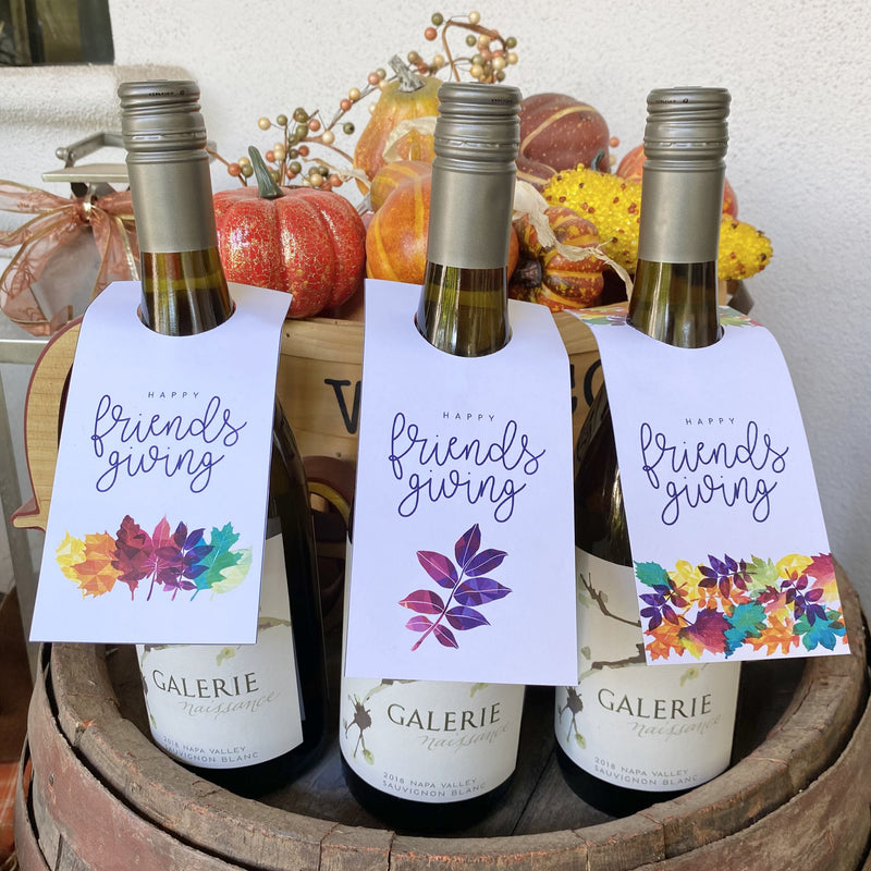 Happy Friendsgiving Wine Bottle Tags (3 included)