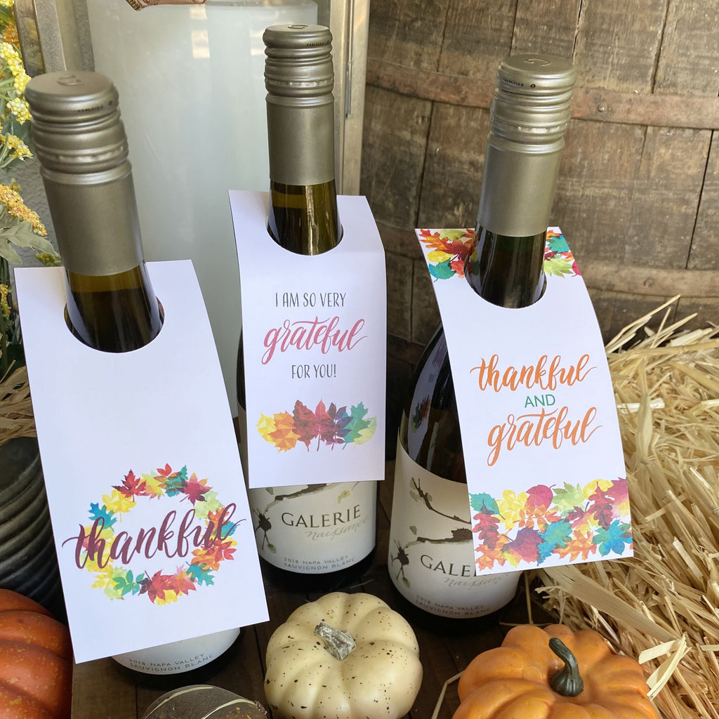 Thanksgiving Thankful Wine Bottle Tags (3 included)