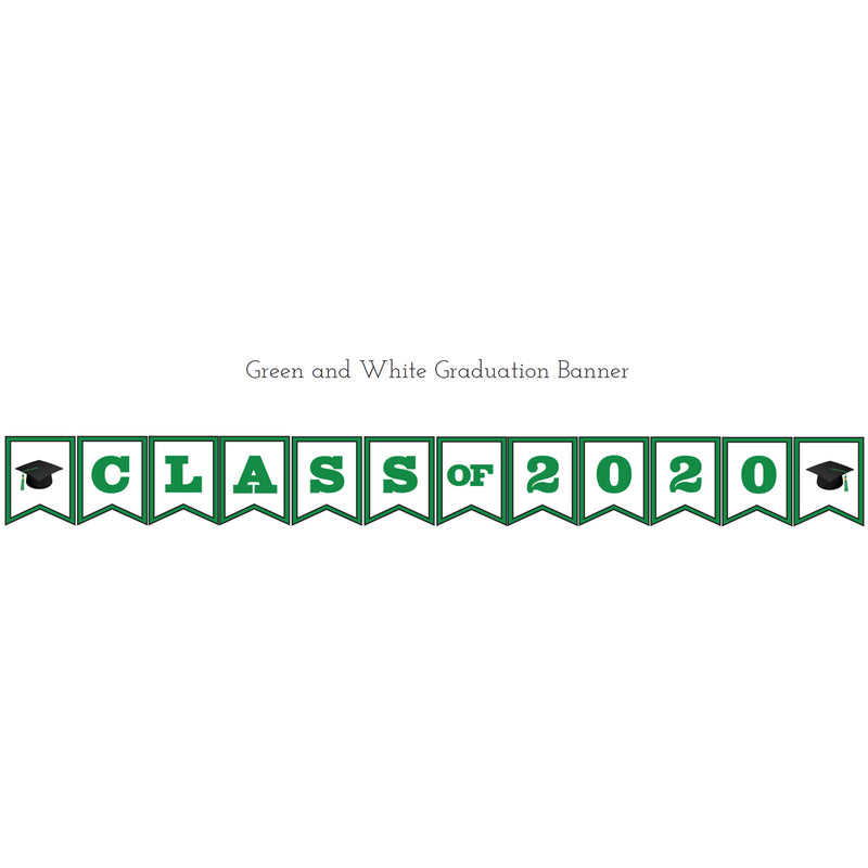 Green & White Graduation Printable Banner (Digital Download)