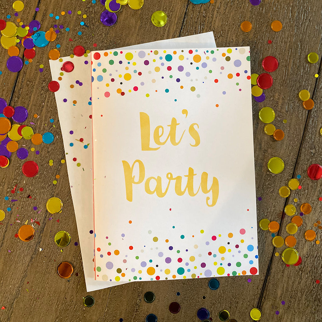 Let's Party Confetti Greeting Cards and Envelopes (2 included)