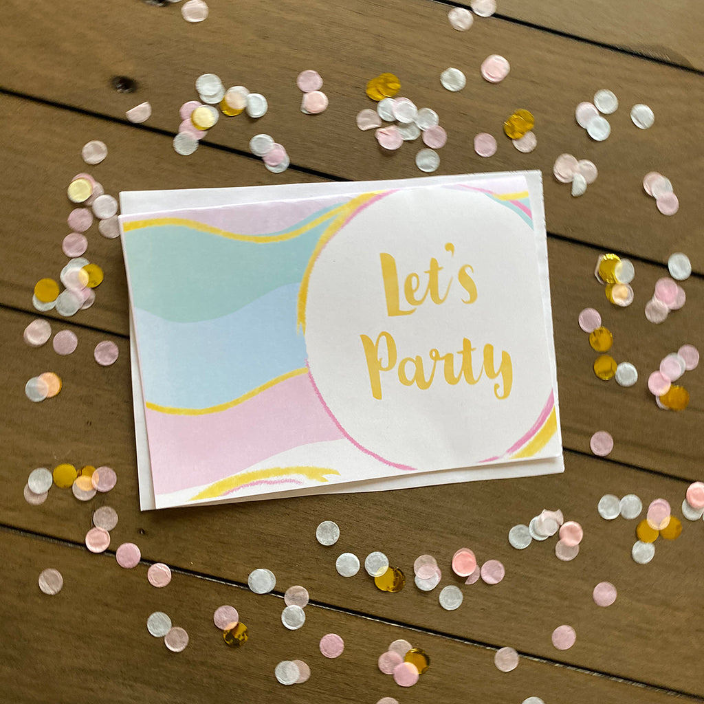 Let's Party Waves Greeting Cards and Envelopes (2 included)