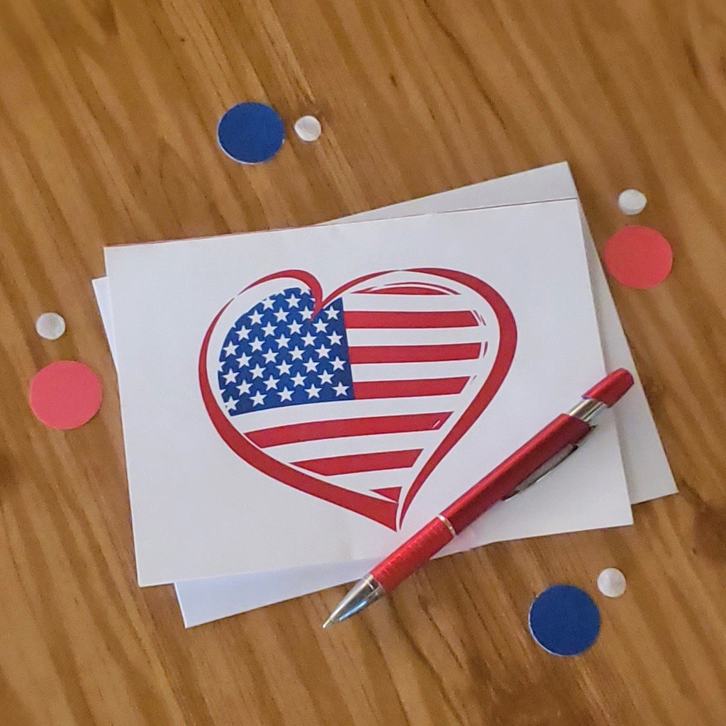 Love USA Greeting Cards & Envelopes (2 included)