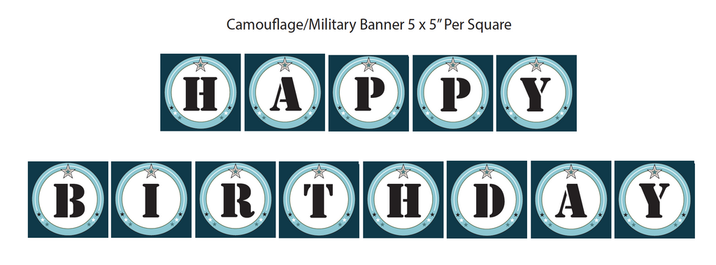 Blue Camouflage Printable Banner (Digital Download)
