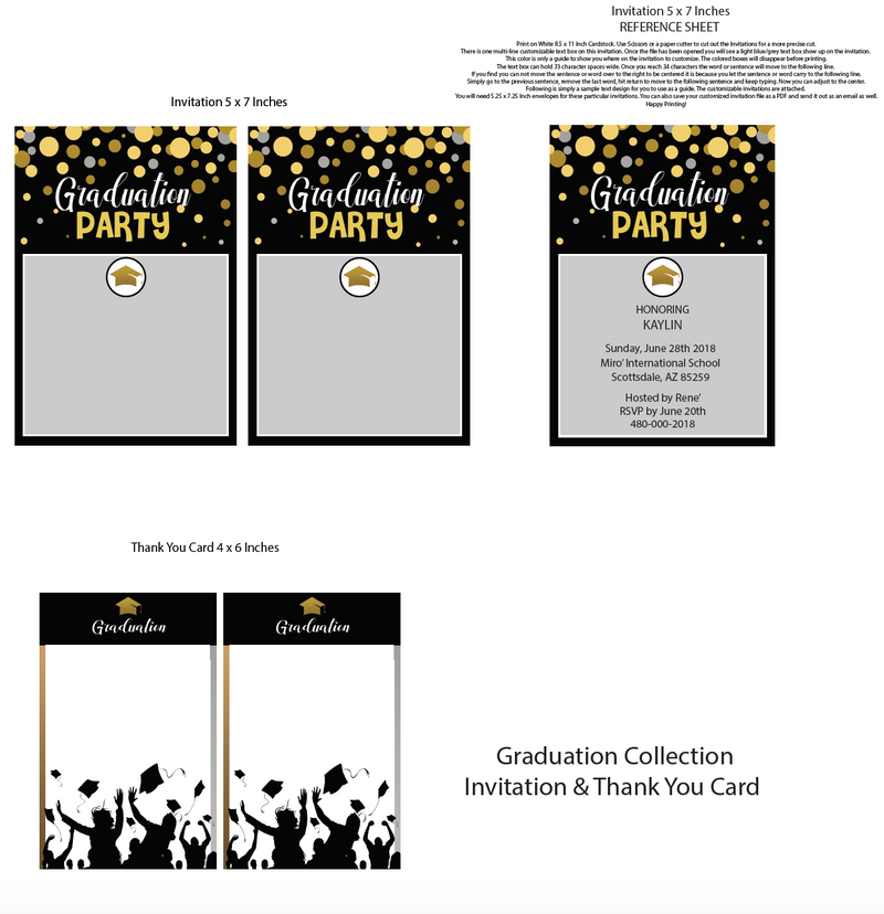 Graduation Printable Invitation (Digital Download)