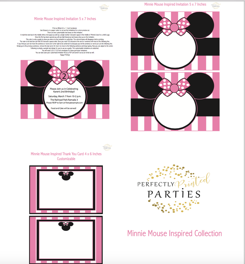 Minnie Mouse Inspired Printable Invitation (Digital Download)