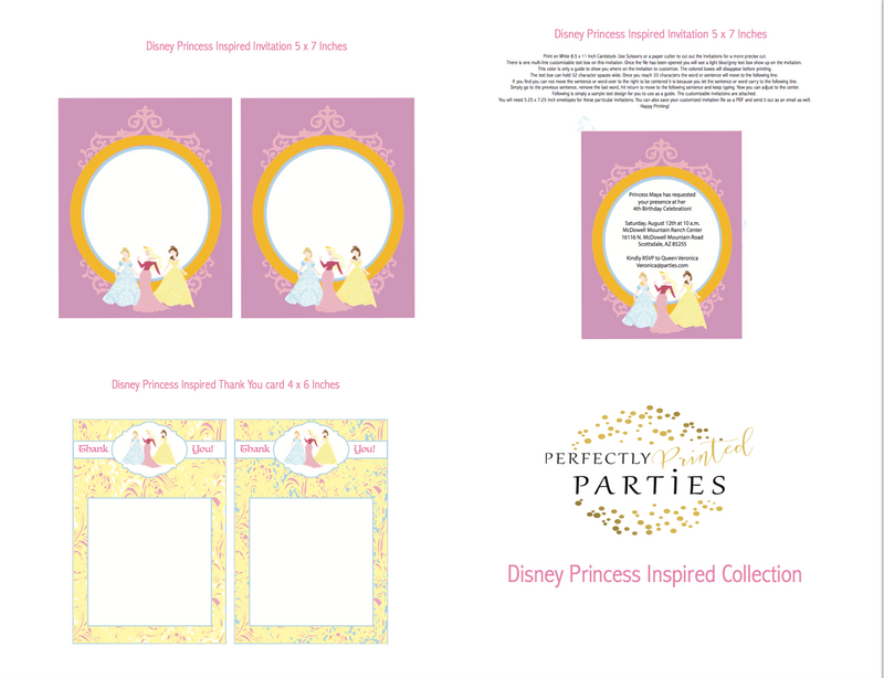 Disney Princess Inspired Printable Invitation (Digital Download)