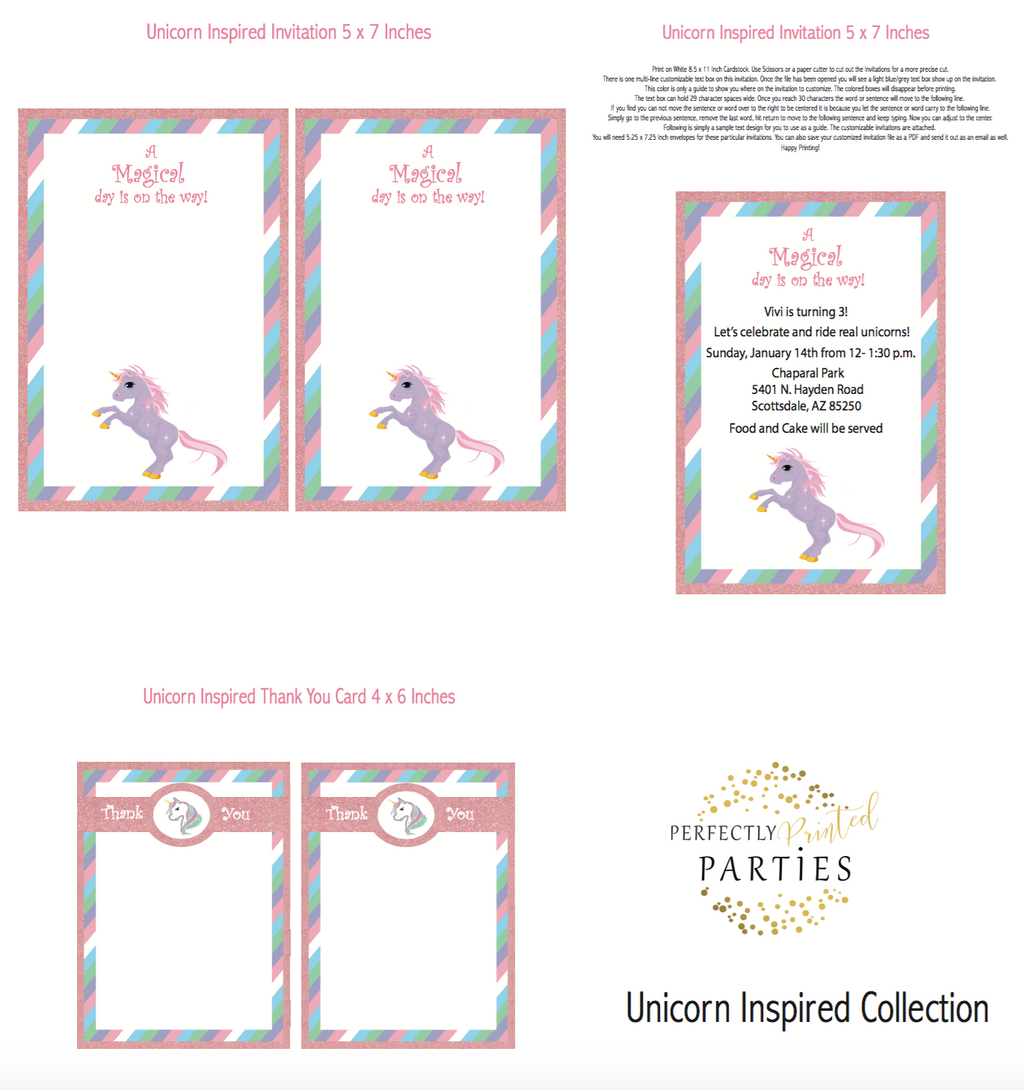 Unicorn Printable Invitation (Digital Download)
