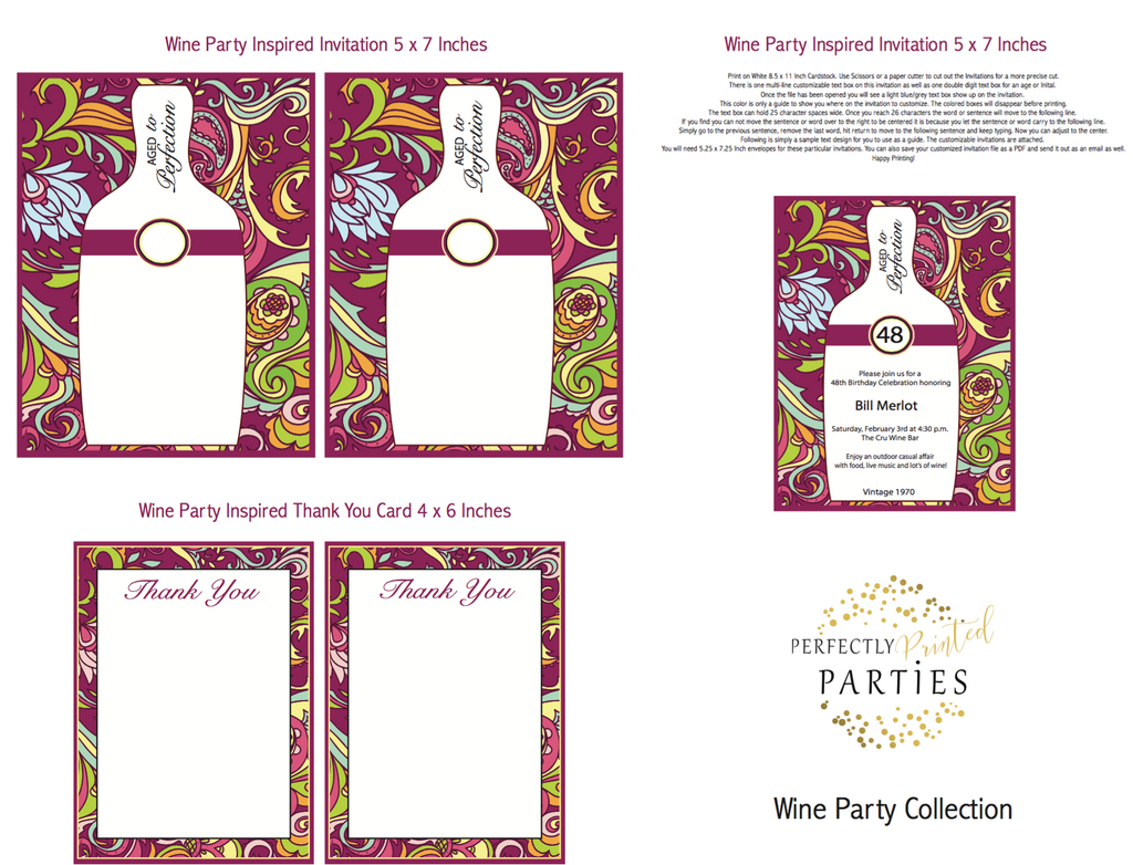 Wine Printable Invitation (Digital Download)