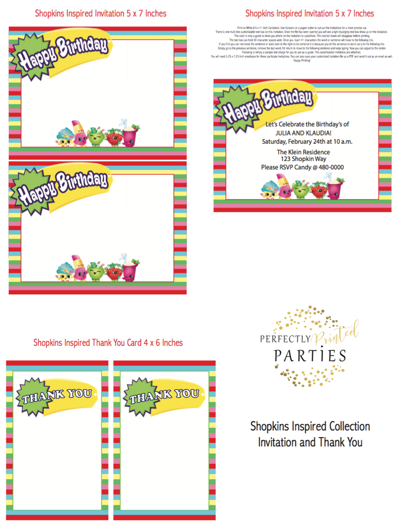 image about Shopkins Printable Invitations titled Shopkins Influenced Printable Invitation (Electronic Down load)
