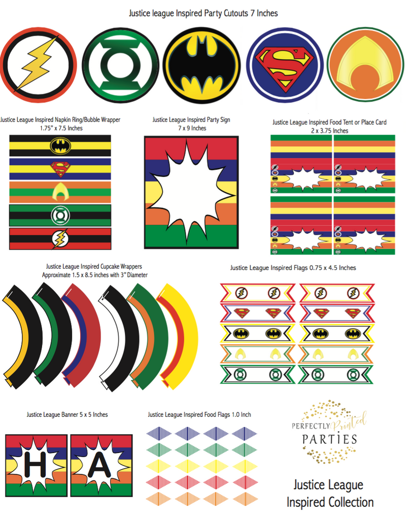 Justice League Inspired Printable Collection (Digital Download)