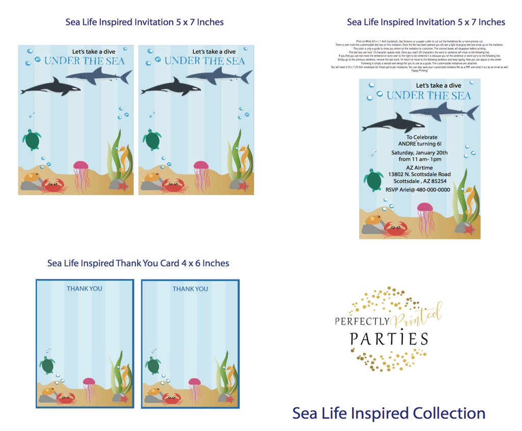 Sea Life Printable Invitation (Digital Download)