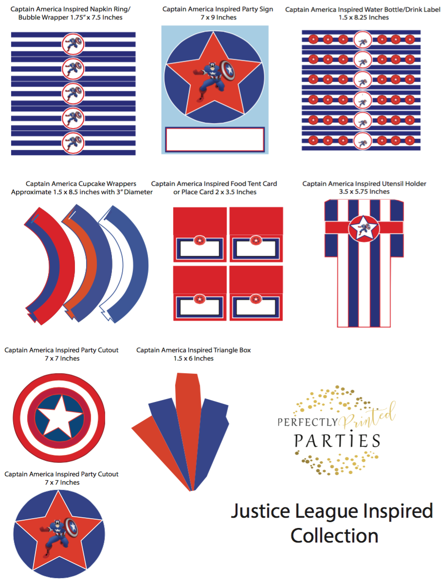 captain america inspired printable collection digital download