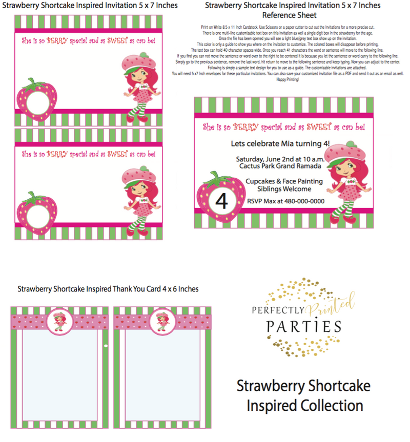 Strawberry Shortcake Inspired Printable Invitation (Digital Download)