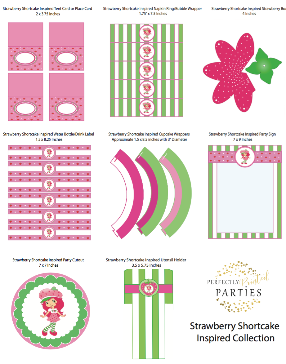 Strawberry Shortcake Inspired Printable Collection Digital Download