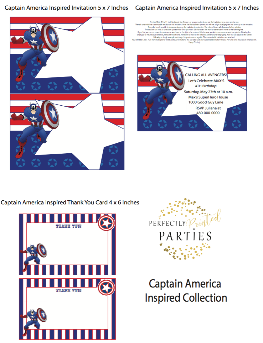 Captain America Inspired Printable Invitation (Digital Download)