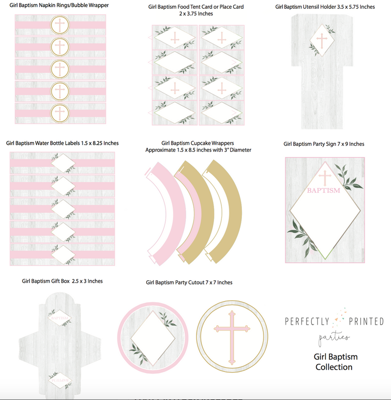 Pink Baptism Printable Collection (Digital Download)