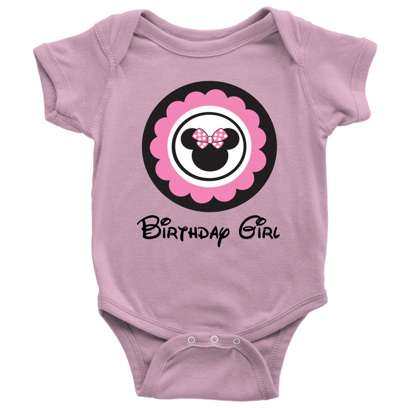Minnie Mouse Inspired Birthday Girl Onesie