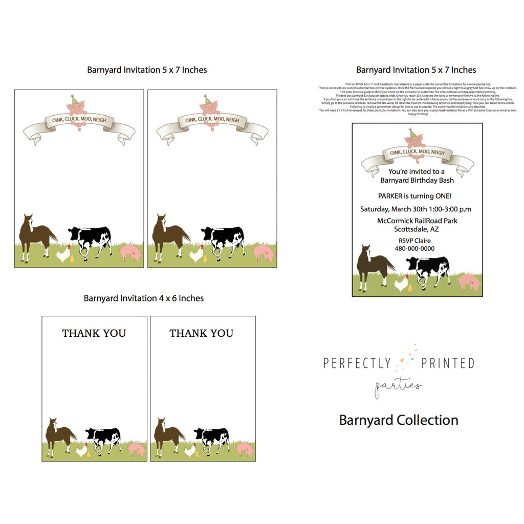 Barnyard Printable Invitation (Digital Download)