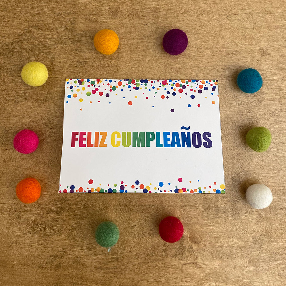 Feliz Cumpleaños Confetti Printable Greeting Card (Digital Download)