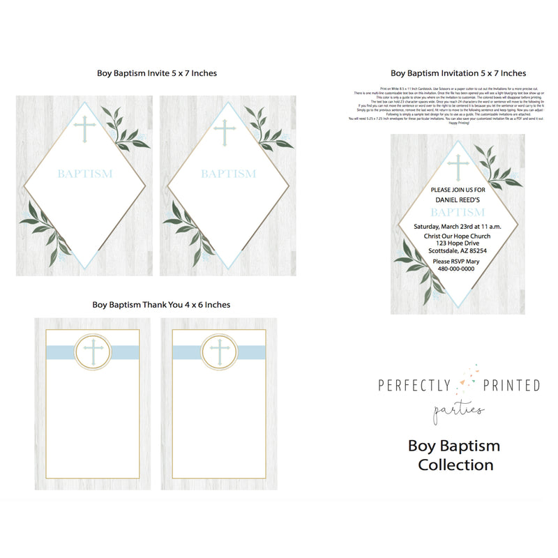 Blue Baptism Printable Invitation (Digital Download)