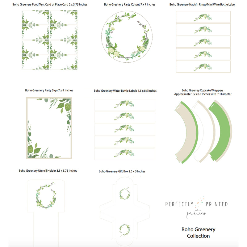 Boho Greenery Printable Collection (Digital Download)