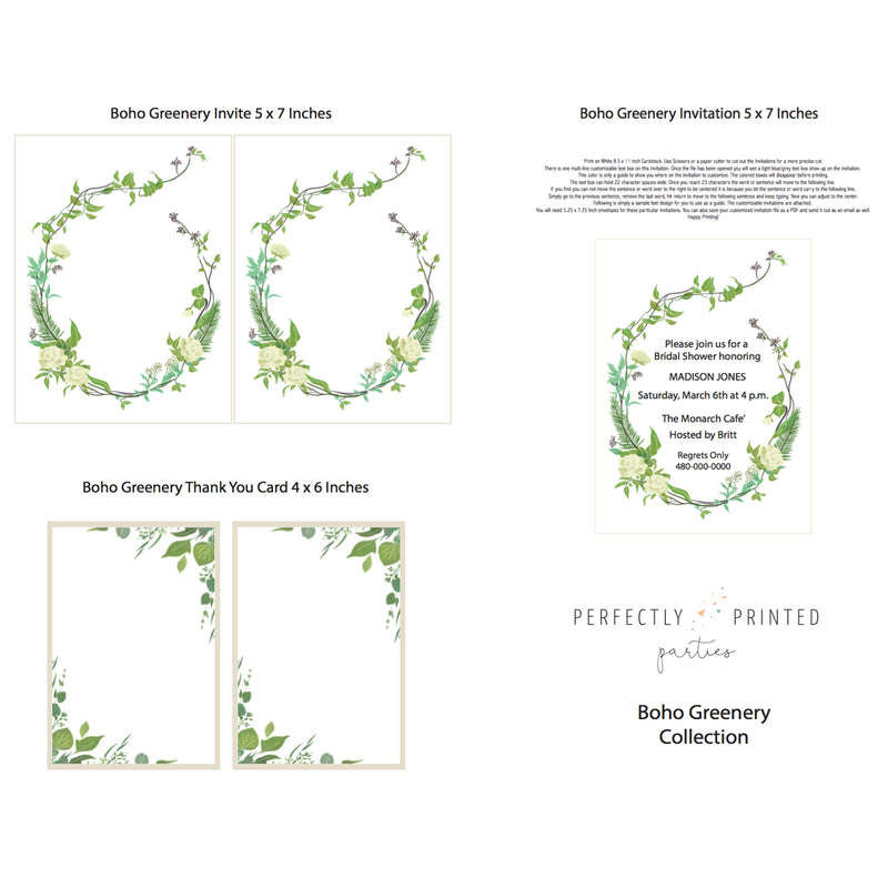 Boho Greenery Printable Invitation (Digital Download)