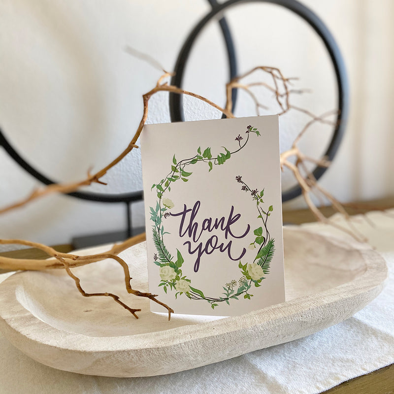 Boho Greenery Printable Thank You Card (Digital Download)