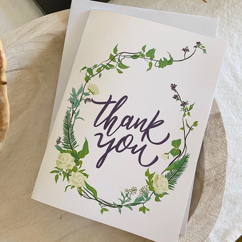 Boho Greenery Thank You Cards & Envelopes (2 included)