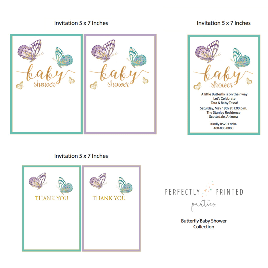 Butterfly Baby Shower Printable Invitation (Digital Download)