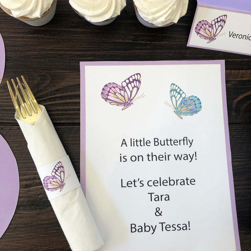 Lavender Butterfly Baby Shower Party in a Box